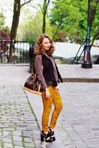 Louis Vuitton purse - silk marie lund blouse - fur Gerry Weber vest