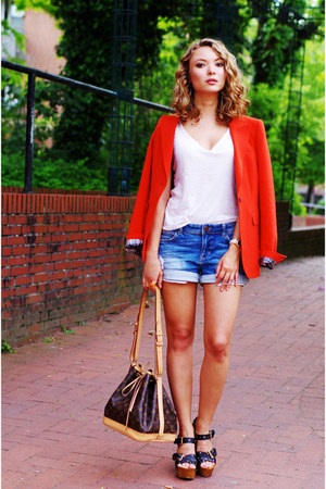 strenesse blue blazer - Louis Vuitton bag - jeans Zara shorts - Pollini wedges
