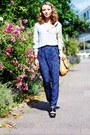 Navy-naf-naf-pants-light-blue-silk-emporio-armani-blouse