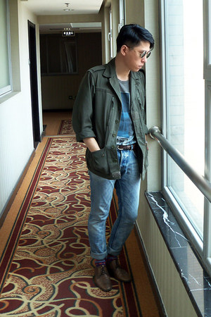 dark green jacket - brown Zara shoes - sky blue H&M jeans