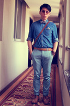 sky blue H&M shirt - light blue Topman pants