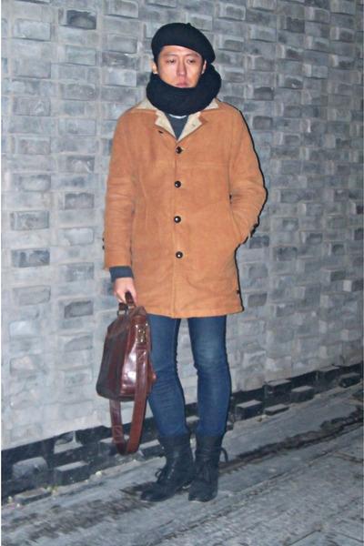 black H by Hudson boots - bronze vintage coat - navy skinny jeans H&M jeans