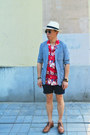 Sky-blue-muji-blazer-ruby-red-asos-shirt-navy-h-m-shorts