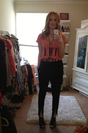 black drawstring Leith pants - coral vneck Local Celebrity t-shirt