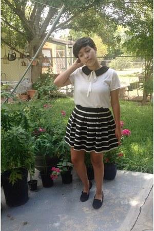 black striped Forever 21 skirt - white Forever 21 blouse