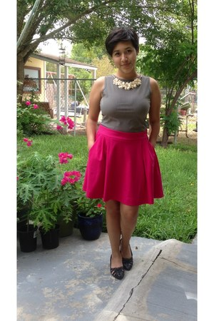 black thrifted blouse - eggshell Target necklace - hot pink Joe Fresh skirt