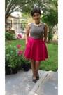 Black-thrifted-blouse-eggshell-target-necklace-hot-pink-joe-fresh-skirt