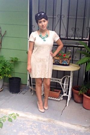 beige thrifted dress - beige JCPenney heels