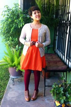 orange Marshalls dress - maroon Forever 21 tights - beige Old Navy cardigan