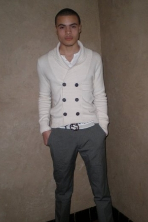 American Apparel shirt - H&M sweater - Gucci belt - Theory pants