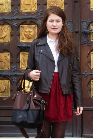 maroon lace New Yorker skirt - brown c&a jacket - black black and brown H&M bag