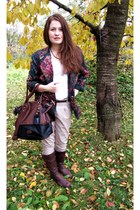 dark brown Rieker boots - navy vintage blazer - dark brown H&M bag