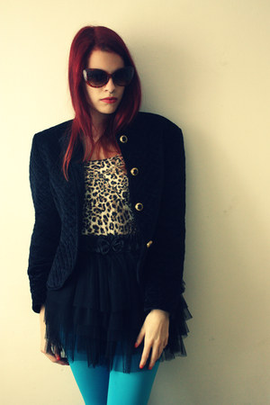 black vintage jacket - brown no name top - black no name skirt
