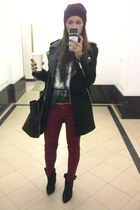 black cowboy suede Zara boots - black Zara coat - crimson beanie Forever21 hat