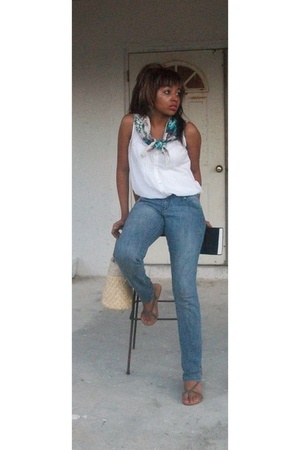 Forever21 scarf - Forever21 jeans - Forever21 shoes - ann taylor blouse