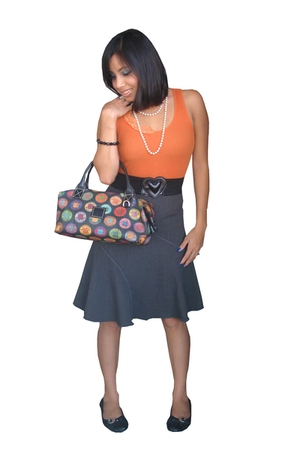 flowy unknown brand skirt - flats unknown brand shoes - Dooney & Bourke purse