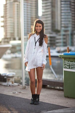 white dress cut out shirt - black ankle buckle boots
