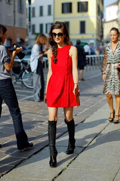 Black Boots Red Dresses Black Round Black Sunglasses | U0026quot;All The Pretty Birds Natalia ...