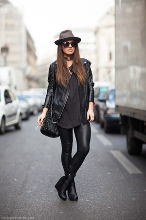 black wedge boots - light brown hat - black jacket - black leather pants