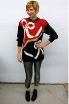 red vintage and ugly sweater - silver ModClothcom leggings - black Jeffrey Campb