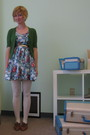 Blue-modclothcom-dress-green-tulle-cardigan-white-modclothcom-tights-brown