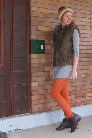 orange ModClothcom tights - brown BB Dakota vest - gray ModClothcom dress - brow