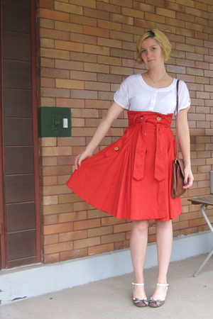 brown Poetic License shoes - brown vintage purse - red Fornarina skirt