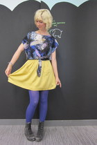 modcloth skirt - Jeffrey Campbell boots - modcloth tights - modcloth top
