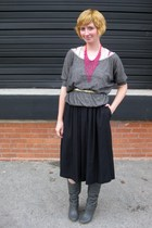 gray ModClothcom top - black vintage skirt - gray ModClothcom shoes - gold vinta