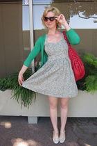 green ModClothcom cardigan - red ModClothcom purse - green Tulle dress - beige M