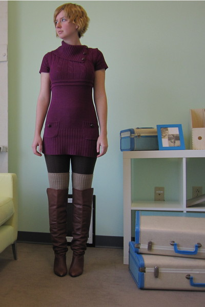 purple ModClothcom dress - brown ModClothcom tights - beige ModClothcom socks -