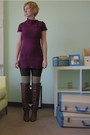 Purple-modclothcom-dress-brown-modclothcom-tights-beige-modclothcom-socks-