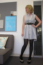 ModClothcom dress - ModClothcom tights - vintage belt - Jeffrey Campbell wedges