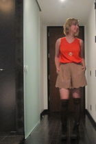 red vintage top - beige shorts - black Jeffrey Campbell boots