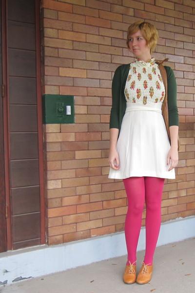 white vintage dress - green ModClothcom sweater - pink ModClothcom tights - brow