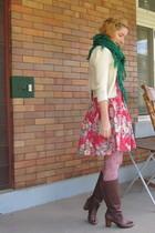 vintage scarf - ModClothcom sweater - ModClothcom dress - Oh Deer boots