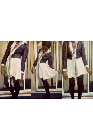 peach H&M dress - black faux leather H&M blazer - H&M scarf