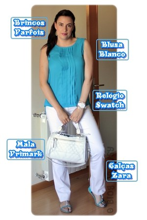 Primark bag - BLANCO blouse - Parfois earrings - Zara pants
