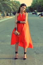 black cuff iconic bracelet - orange asymmetrical H&M dress
