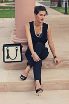 black leather united colors of benetton bag