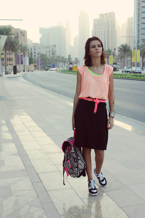black Gap skirt - white Atmosphere bag - salmon Gap t-shirt - hot pink Gap belt