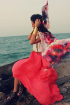 maroon Menbur scarf - coral Zara skirt - dark brown Aldo sandals