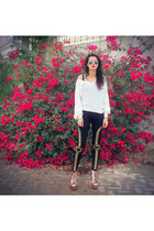 black romwe leggings - light pink rose gold litas Jeffrey Campbell boots