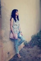 tan Susanna Vesna blouse - blue Zara jeans - light purple vintage bag