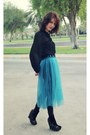 Black-jeffrey-campbell-boots-teal-susanna-vesna-skirt-black-zara-blouse