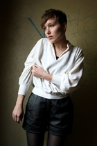 black vintage shorts - white vintage sweater