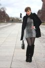 Gray-vintage-dress-black-vintage-shoes-black-vintage-accessories-black-vin