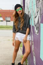 white Sheinside shorts - black SPEED LIMIT 98 shoes
