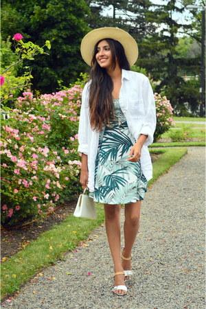 green palm print H&M dress