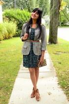 floral H&M dress - leopard print Amazon bag - brown Kenneth Cole heels